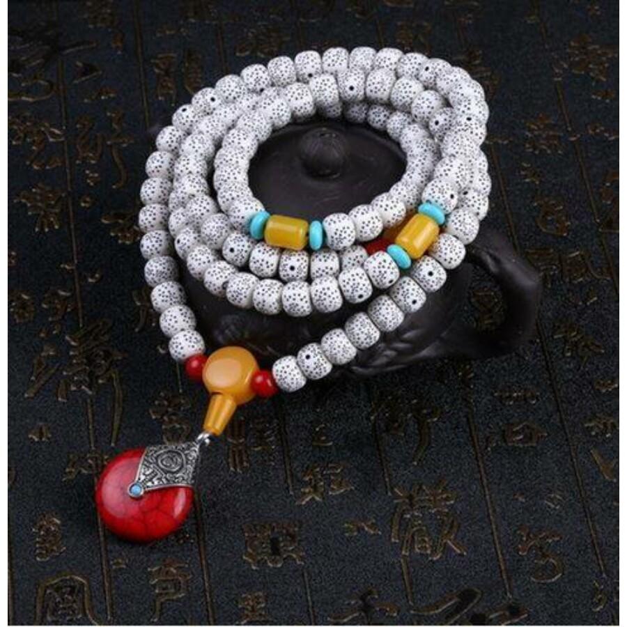 Piros medálos tibeti buddhista mala 108 szemes karkötő