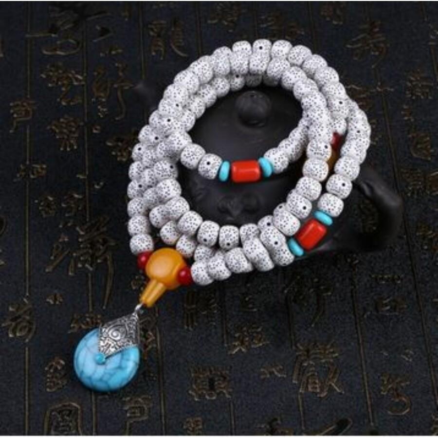 Türkiz medálos tibeti buddhista mala 108 szemes karkötő