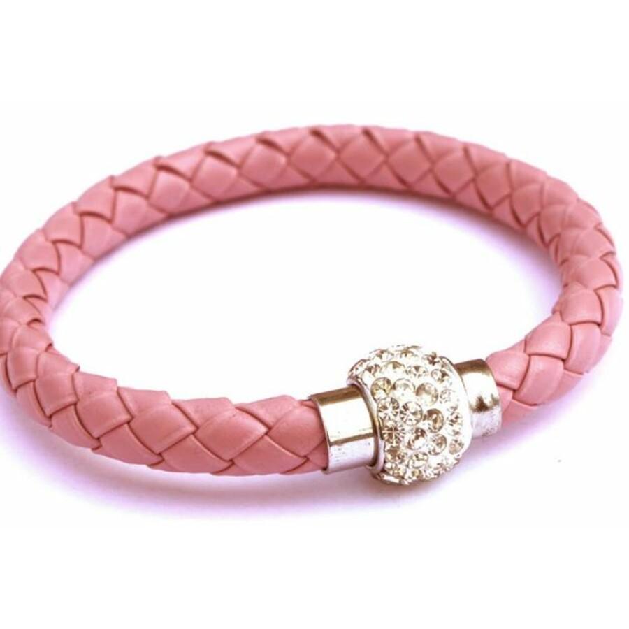 Shamballa fonott műbőr karkötő rózsaszín