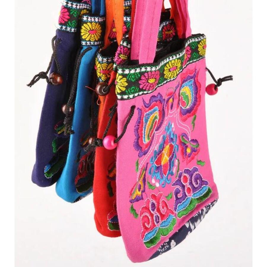 Indiai hímzett táska rózsaszín