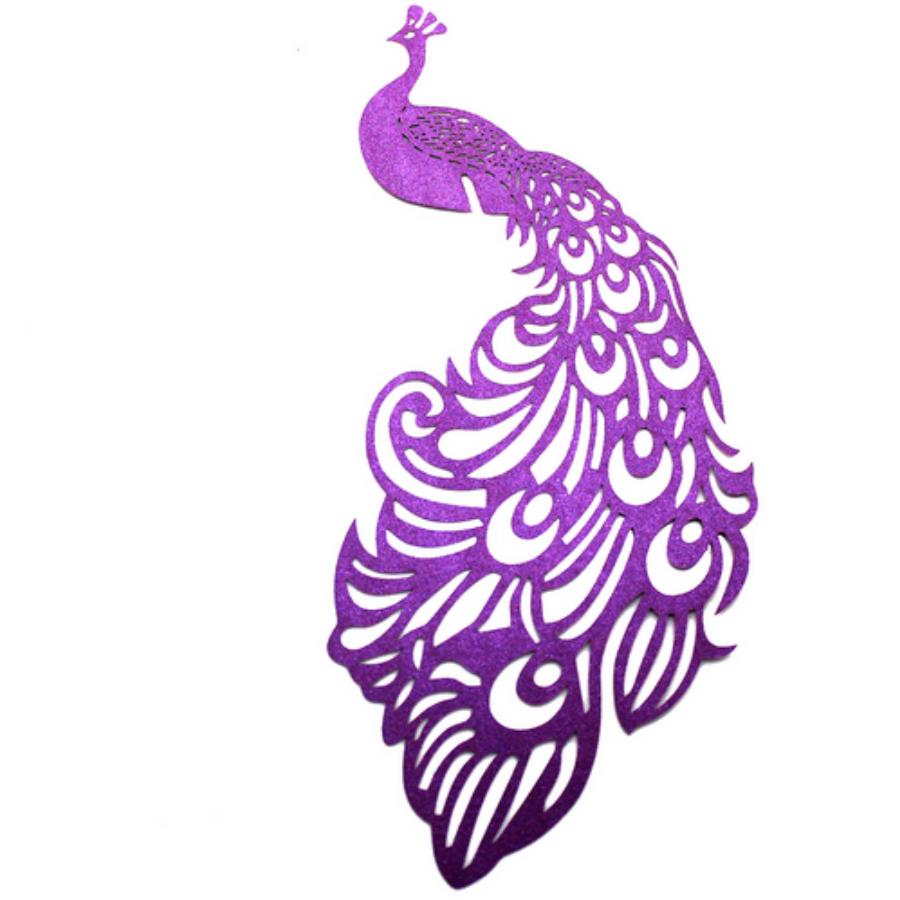 Páva alakú  pohárdísz lila 10db/csomag