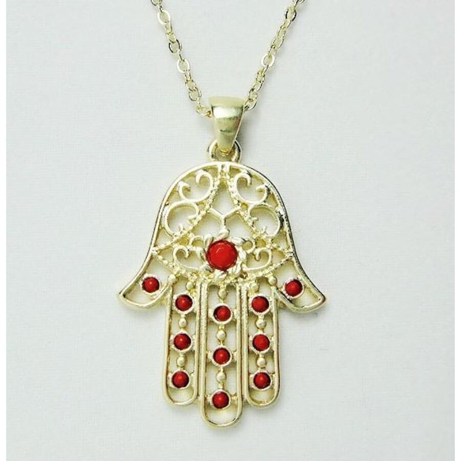 Fatima keze nyaklánc piros kővel