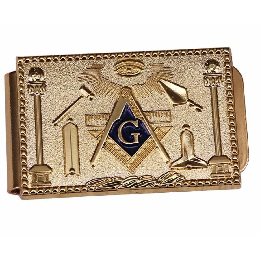 Szabadkőműves szimbólummal ellátott pénzcsipesz
