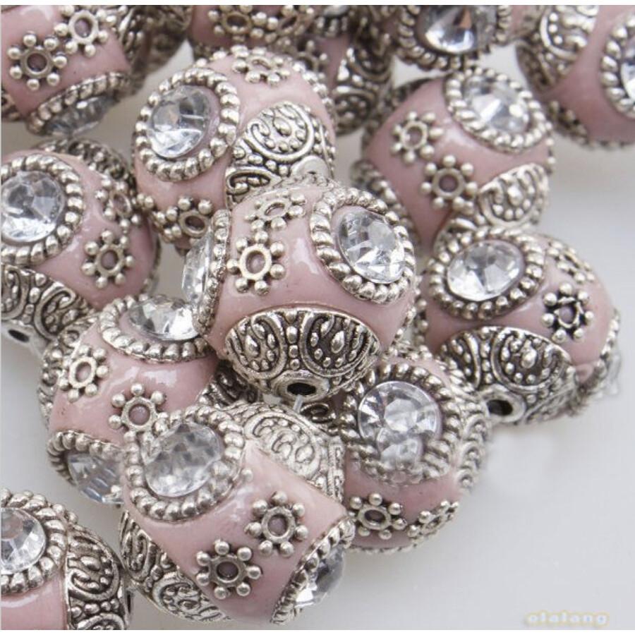 Indonéz gyöngy rózsaszín 5db/csomag