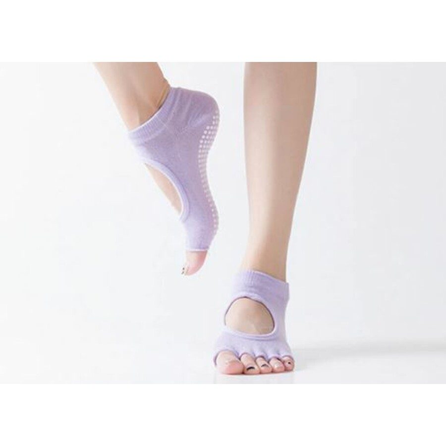 Világoslila jóga zokni