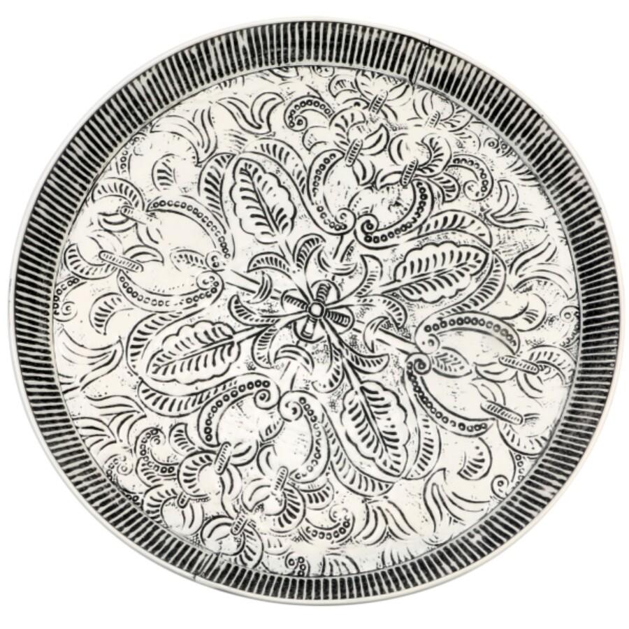 Animata fehér-fekete közepes antik marokkói tálca 49 cm
