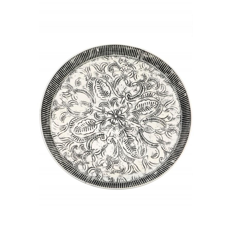 Animata fehér-fekete nagy antik marokkói tálca 56 cm