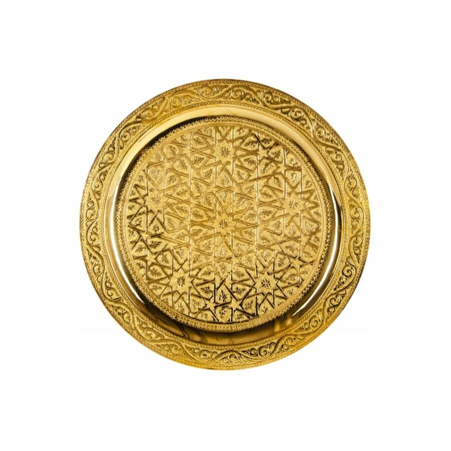 Mehdia arany marokkói tálca 30 cm