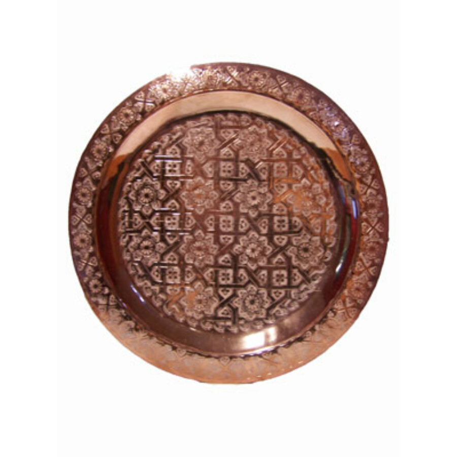 Mehdia rézvörös marokkói tálca 40 cm