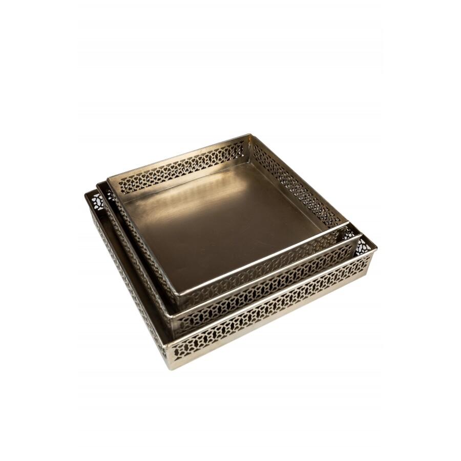 Mundra 3 részes ezüst  marokkói tálca 25,5 cm, 23 cm, 20,5 cm