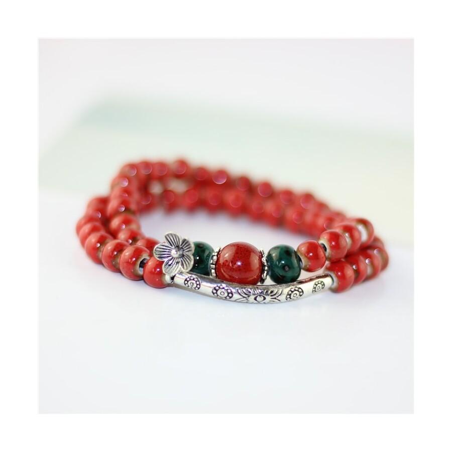 Aabha piros porcelán karkötő