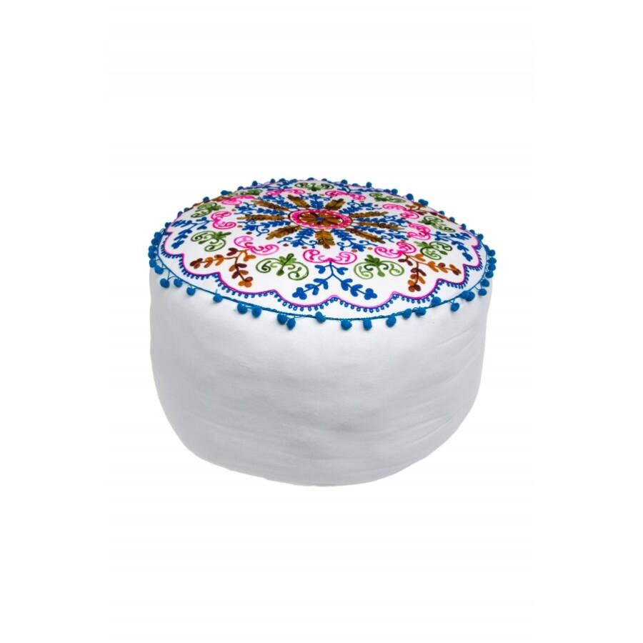 Jivan keleti textil puff, ülőpárna fehér