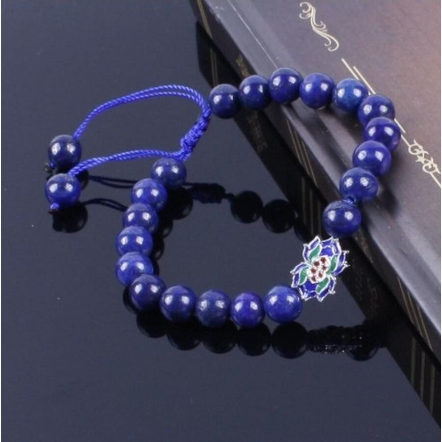 Lapis lazuli mala tibeti medállal karkötő