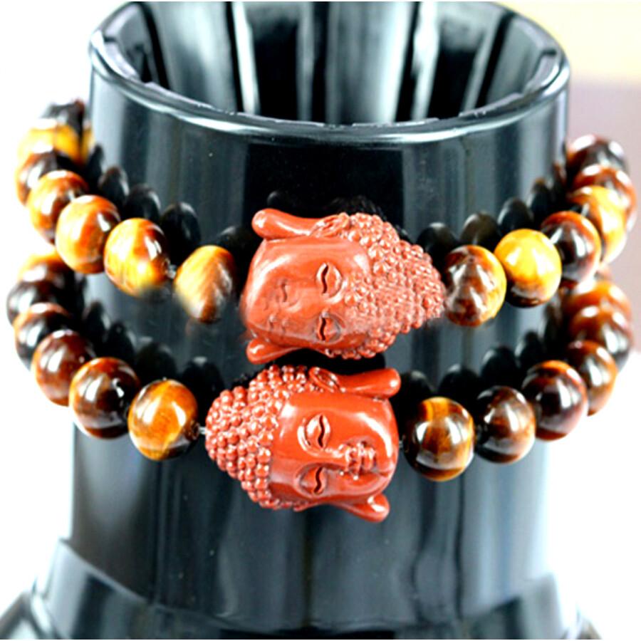 Buddhista mala tigrisszem karkötő