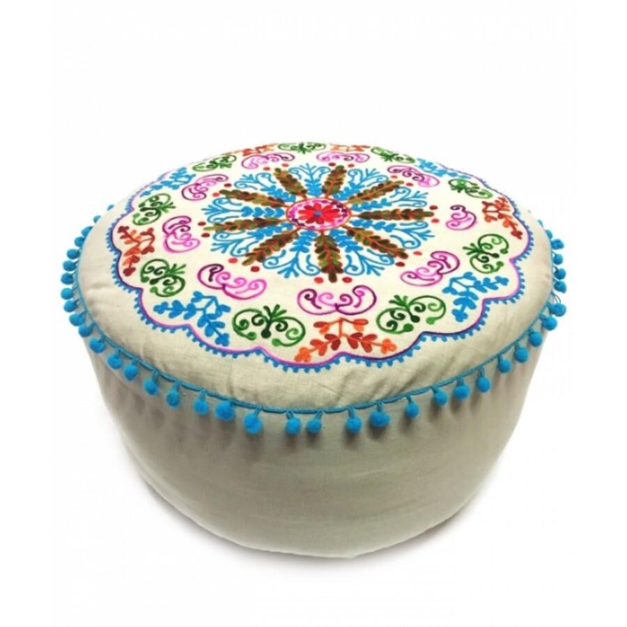 Jivan keleti textil puff, ülőpárna bézs