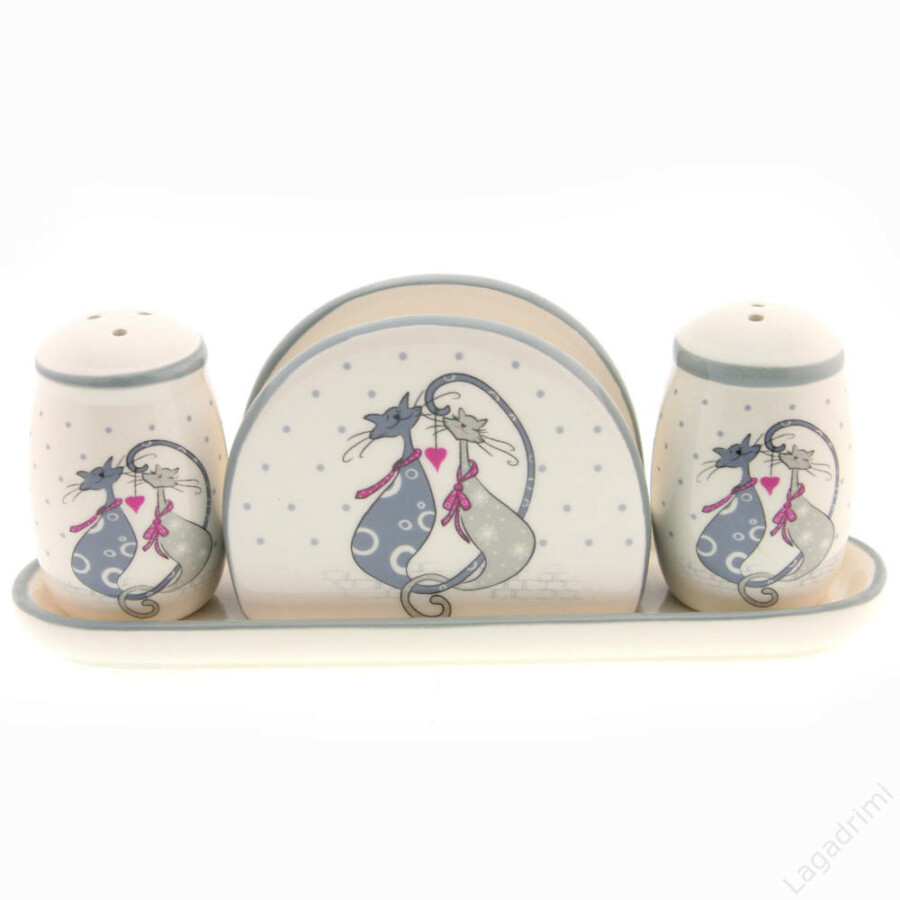 Asztali só-bors-szalvétatartó cica románc mintával