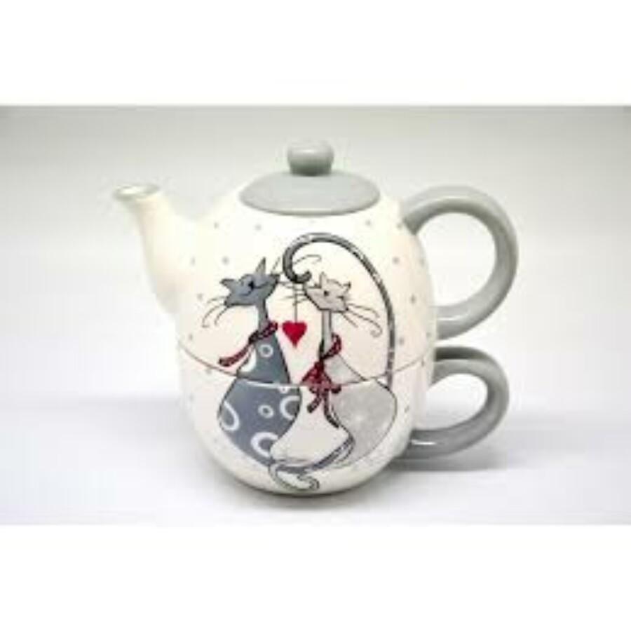 Teás készlet cica románc mintával