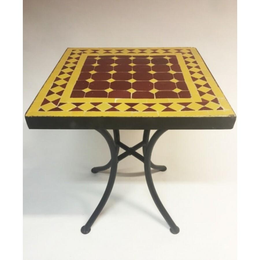 Marrakeshi mozaik asztal bordó/sárga